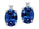 Tommaso Design™ Created Sapphire and Genuine Diamonds Earrings