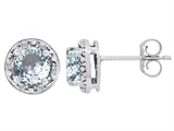 Tommaso Design Genuine 6mm Round Aquamarine and Diamond earring Studs