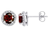 Tommaso Design Genuine 6mm Round Garnet and Diamond earring Studs