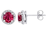 Tommaso Design™ Created 6mm Round Ruby and Diamond earring Studs