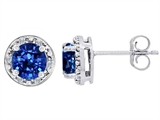 Tommaso Design™ Created 6mm Round Sapphire and Diamond earring Studs