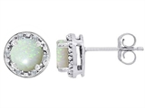 Tommaso Design™ Genuine 6mm Round Opal and Diamond earring Studs