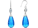 Original Star K Briolette Drop Cut Simulated Blue Topaz Hanging Hook Chandelier Earrings