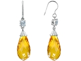 Original Star K Briolette Drop Cut Simulated Citrine Hanging Hook Chandelier Earrings