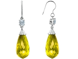 Original Star K Briolette Drop Cut Simulated Yellow Sapphire Hanging Hook Chandelier Earrings