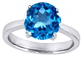 Star K™ Large Solitaire Big Stone Ring with 10mm Round Simulated Blue Topaz style: 305079