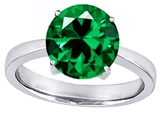 Original Star K Large Solitaire Big Stone Ring with 10mm Round Simulated Emerald