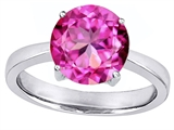 Original Star K Large Solitaire Big Stone Ring with 10mm Round Created Pink Sapphire