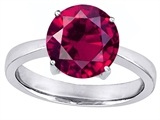 Original Star K Large Solitaire Big Stone Ring with 10mm Round Created Ruby