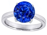 Star K™ Large Solitaire Big Stone Ring with 10mm Round Created Sapphire style: 305087