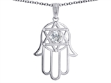 Tommaso Design™ Large 1.5 inch Hamsa Hand Jewish Star of David Kabbalah Protection Pendant with 6 Genuine Diamonds style: 305092