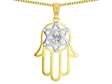 Tommaso Design™ Large 1.5 inch Hamsa Hand Jewish Star of David Kabbalah Protection Pendant with 6 Genuine Diamonds style: 305095