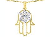 Tommaso Design Large 1.5 inch Hamsa Hand Jewish Star of David Kabbalah Protection Pendant with 6 Genuine Diamonds