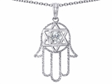 Tommaso Design™ Large 1.5 inch Hamsa Hand Jewish Star of David Kabbalah Protection Pendant style: 305100