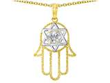 Tommaso Design™ Large 1.5 inch Hamsa Hand Jewish Star of David Kabbalah Protection Pendant style: 305103
