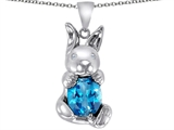 Original Star K Love Bunny Pendant With Simulated Blue Topaz Oval 10x8mm