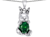 Original Star K Love Bunny Pendant with Simulated Emerald Oval 10x8