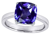 Original Star K™ Large 10mm Cushion Cut Solitaire Ring With Simulated Tanzanite style: 305121