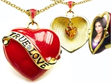 Original Star K™ 1.25 Inch True Love Red Enamel Locket With Genuine Heart Citrine Inside