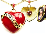 Original Star K™ 1.25 Inch True Love Red Enamel Locket With Genuine Heart Garnet Inside