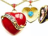 Original Star K 1.25 Inch True Love Red Enamel Locket With Simulated Heart Aquamarine Inside