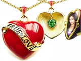 Original Star K™ 1.25 Inch True Love Red Enamel Locket With Simulated Heart Emerald Inside