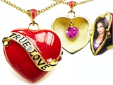 Original Star K™ 1.25 Inch True Love Red Enamel Locket With Created Heart Pink Sapphire Inside