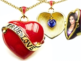 Original Star K™ 1.25 Inch True Love Red Enamel Locket With Lab Created Heart Sapphire Inside