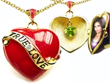 Original Star K™ 1.25 Inch True Love Red Enamel Locket With Genuine Heart Peridot Inside