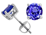 Tommaso Design™ Round 7mm Simulated Tanzanite Screw Back Earrings Studs style: 305134
