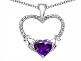 Celtic Love by Kelly Hands Holding your Heart Genuine Amethyst and Diamond 1 Inch Claddagh Pendant style: 305135
