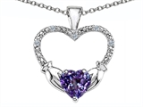 Celtic Love by Kelly Hands Holding your Heart Simulated Alexandrite and Diamond 1 Inch Claddagh Pendant