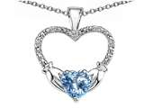 Celtic Love by Kelly Hands Holding your Heart Simulated Aquamarine and Diamond 1 Inch Claddagh Pendant style: 305137
