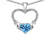 Celtic Love by Kelly Hands Holding your Heart Genuine Blue Topaz and Diamond 1 Inch Claddagh Pendant