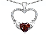 Celtic Love by Kelly Hands Holding your Heart Genuine Garnet and Diamond 1 Inch Claddagh Pendant style: 305140