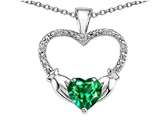 Celtic Love by Kelly Hands Holding your Heart Simulated Emerald and Diamond 1 Inch Claddagh Pendant