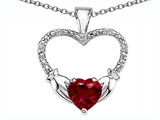 Celtic Love by Kelly Hands Holding your Heart Created Ruby and Diamond 1 Inch Claddagh Pendant style: 305142