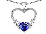Celtic Love by Kelly Hands Holding your Heart Lab Created Sapphire and Diamond 1 Inch Claddagh Pendant