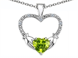 Celtic Love by Kelly Hands Holding your Heart Genuine Peridot and Diamond 1 Inch Claddagh Pendant