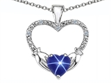 Celtic Love by Kelly Hands Holding your Heart Lab Created Star Sapphire and Diamond 1 Inch Claddagh Pendant