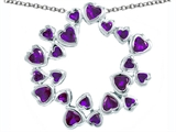 Original Star K Large Circle Of Love Pendant With 20 Simulated Amethyst Hearts