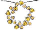 Original Star K™ Large Circle Of Love Pendant With 20 Simulated Citrine Hearts