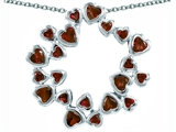 Original Star K Large Circle Of Love Pendant With 20 Simulated Garnet Hearts