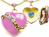 Original Star K 1.25 Inch True Love Pink Enamel Locket With Genuine Heart Blue Topaz Inside