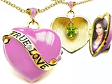 Original Star K™ 1.25 Inch True Love Pink Enamel Locket With Genuine Heart Peridot Inside