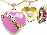 Original Star K 1.25 Inch True Love Pink Enamel Locket With Genuine Heart Pearl Inside