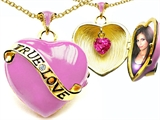 Original Star K™ 1.25 Inch True Love Pink Enamel Locket With Created Heart Pink Sapphire Inside