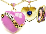 Original Star K™ 1.25 Inch True Love Pink Enamel Locket With Lab Created Heart Sapphire Inside