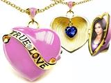 Original Star K™ 1.25 Inch True Love Pink Enamel Locket With Created Heart Sapphire Inside style: 305166