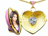 Original Star K 1.25 Inch True Love Pink Enamel Locket With Genuine Heart White Topaz Inside